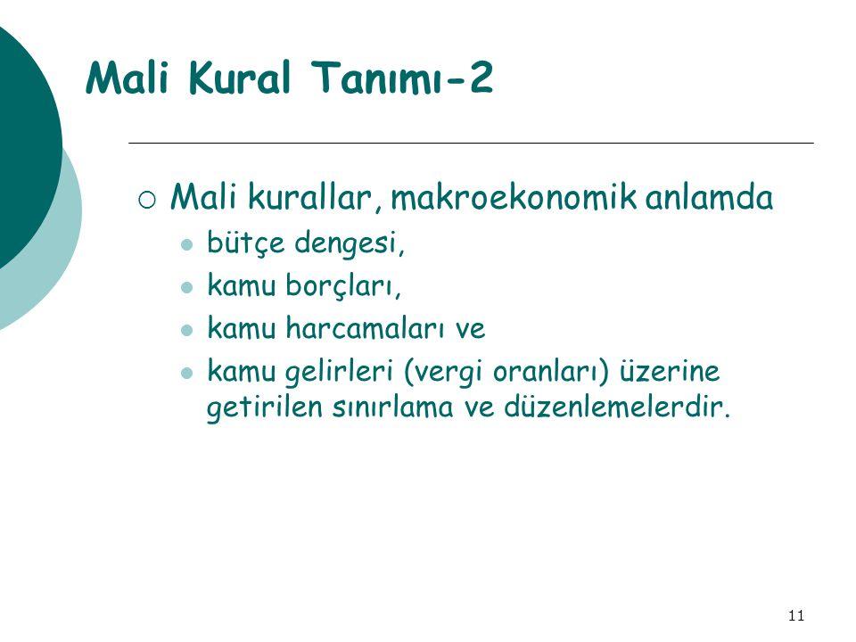 Mali Kural Tanımı-2 Mali kurallar, makroekonomik anlamda