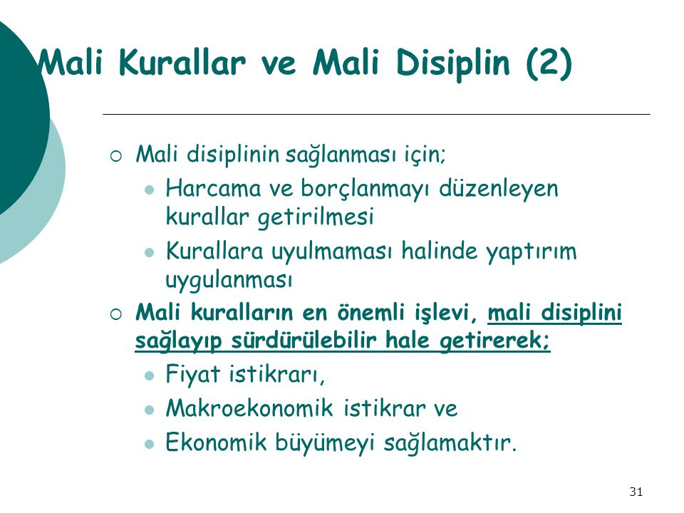Mali Kurallar ve Mali Disiplin (2)