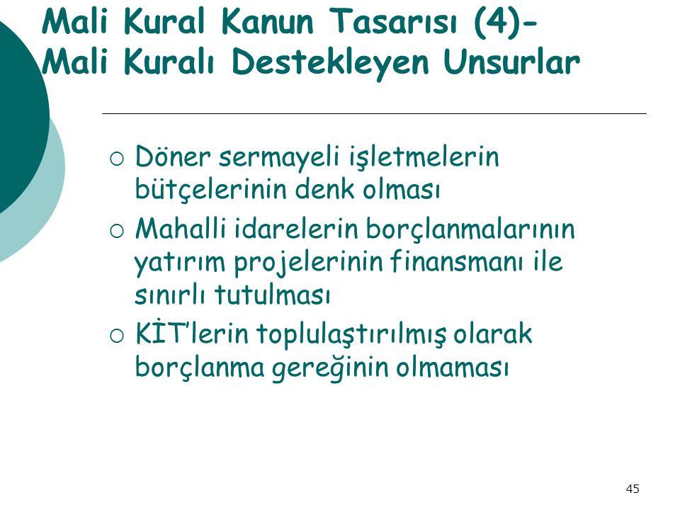 Mali Kural Kanun Tasarısı (4)- Mali Kuralı Destekleyen Unsurlar
