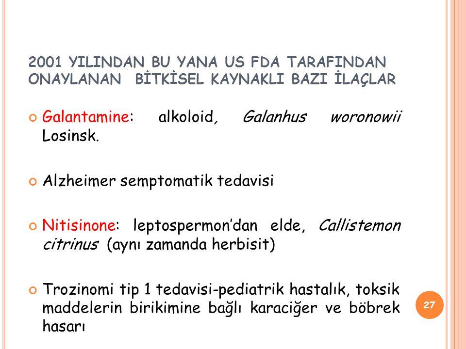 Galantamine: alkoloid, Galanhus woronowii Losinsk.