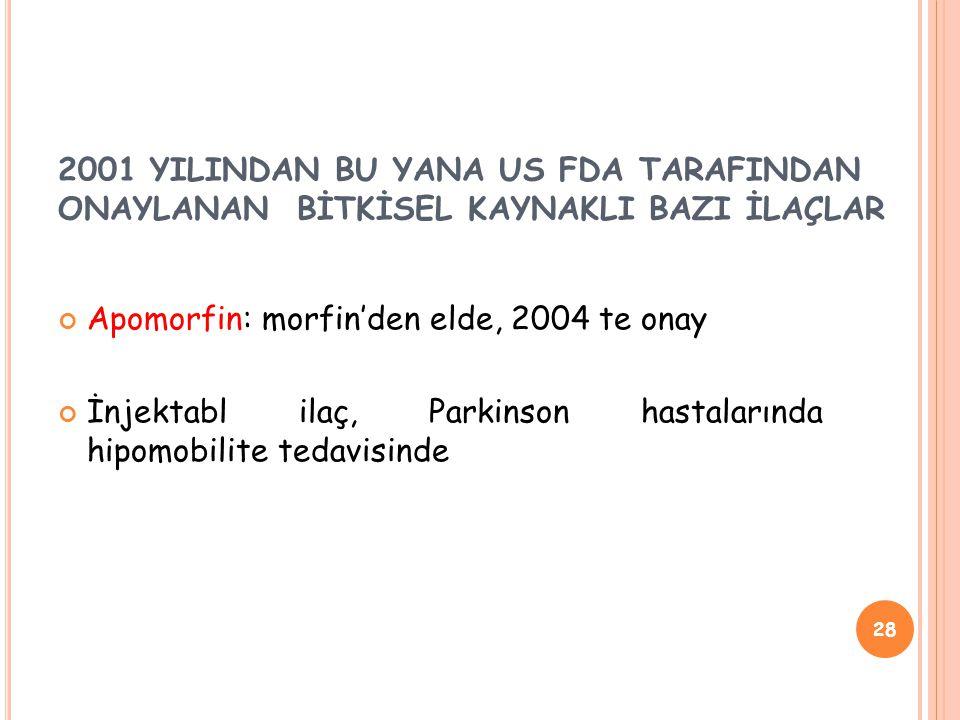 2001 YILINDAN BU YANA US FDA TARAFINDAN ONAYLANAN BİTKİSEL KAYNAKLI BAZI İLAÇLAR