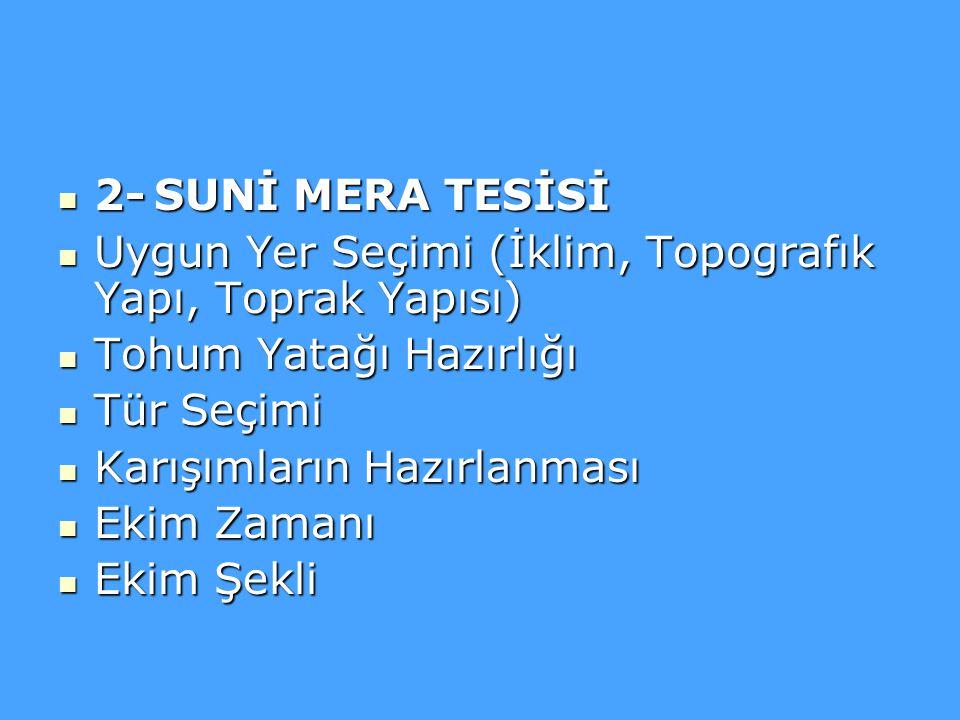 2- SUNİ MERA TESİSİ Uygun Yer Seçimi (İklim, Topografık Yapı, Toprak Yapısı) Tohum Yatağı Hazırlığı.