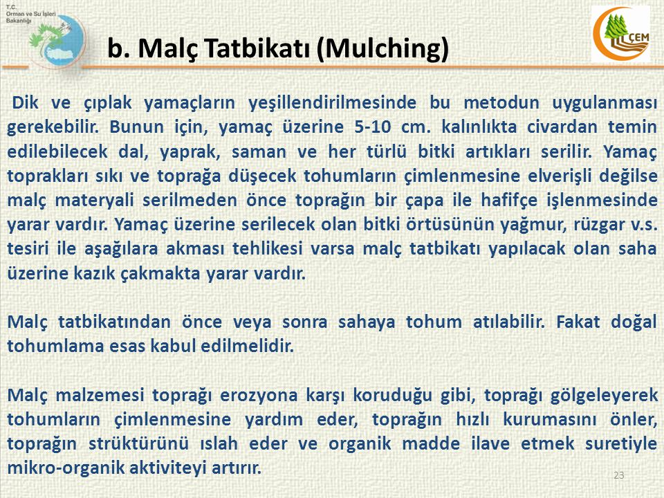 b. Malç Tatbikatı (Mulching)