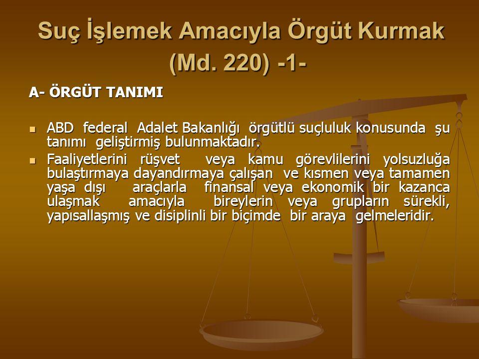 Suç İşlemek Amacıyla Örgüt Kurmak (Md. 220) -1-