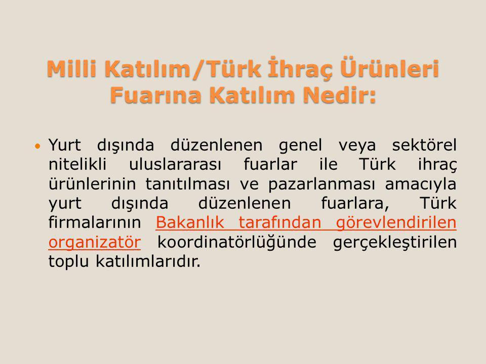 Milli Katılım/Türk İhraç Ürünleri Fuarına Katılım Nedir: