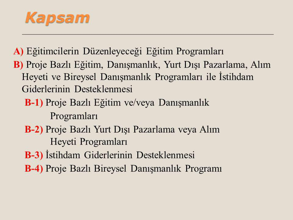 Kapsam A) Eğitimcilerin Düzenleyeceği Eğitim Programları