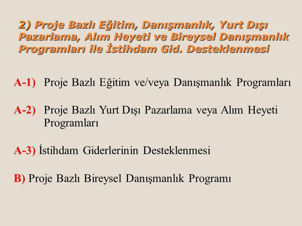 A-1) Proje Bazlı Eğitim ve/veya Danışmanlık Programları