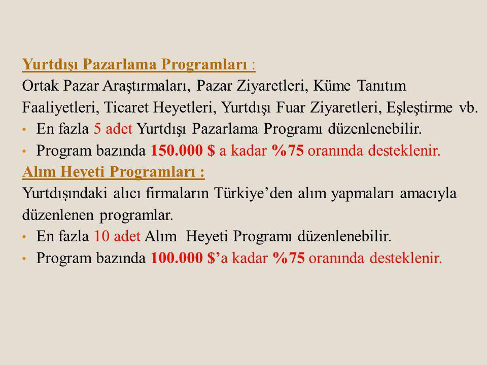 Yurtdışı Pazarlama Programları :