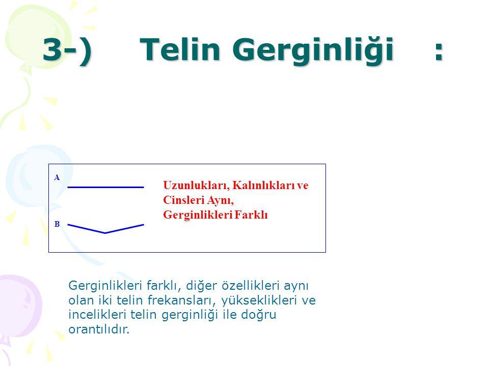 3-) Telin Gerginliği : Uzunlukları, Kalınlıkları ve Cinsleri Aynı,