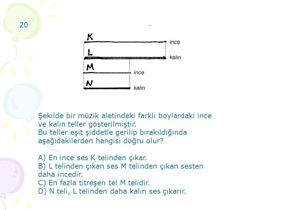20) 20. Şekilde bir müzik aletindeki farklı boylardaki ince ve kalın teller gösterilmiştir.