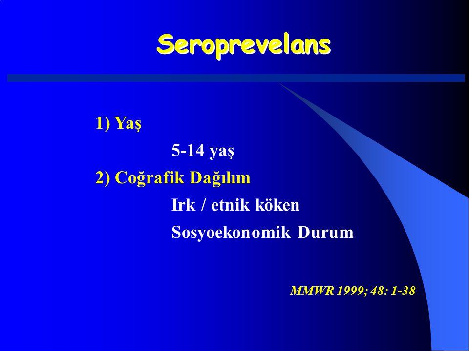 Seroprevelans 1) Yaş 5-14 yaş 2) Coğrafik Dağılım Irk / etnik köken