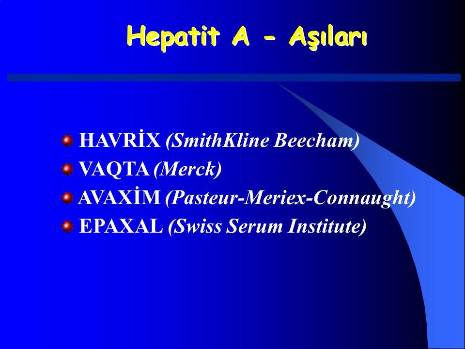 Hepatit A - Aşıları HAVRİX (SmithKline Beecham) VAQTA (Merck)