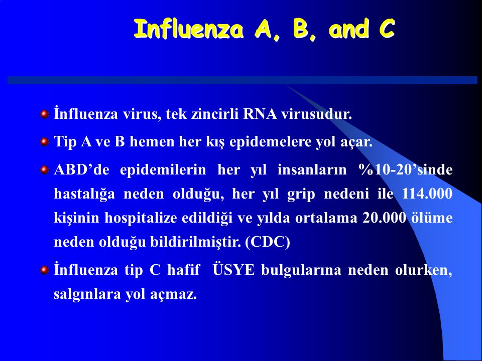 Influenza A, B, and C İnfluenza virus, tek zincirli RNA virusudur.