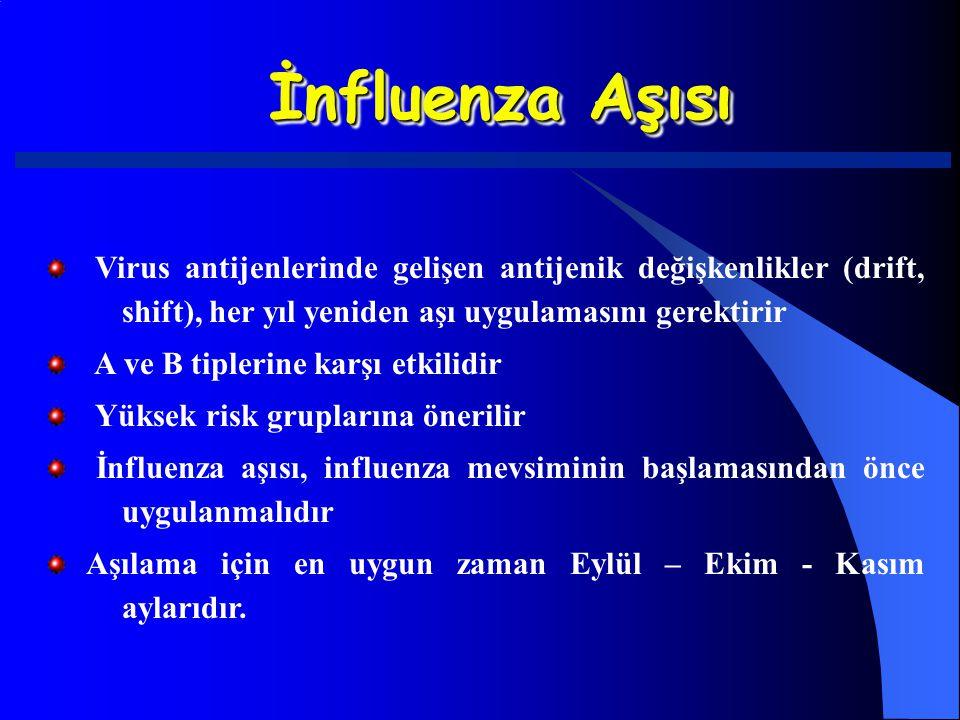 İnfluenza Aşısı Virus antijenlerinde gelişen antijenik değişkenlikler (drift, shift), her yıl yeniden aşı uygulamasını gerektirir.