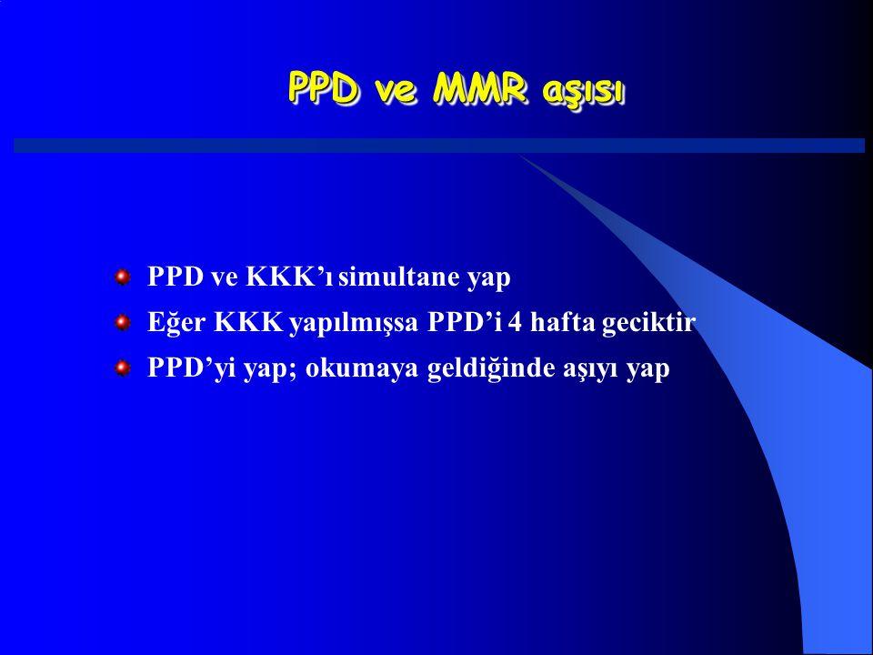PPD ve MMR aşısı PPD ve KKK'ı simultane yap