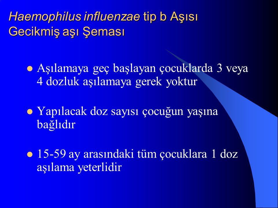 Haemophilus influenzae tip b Aşısı Gecikmiş aşı Şeması