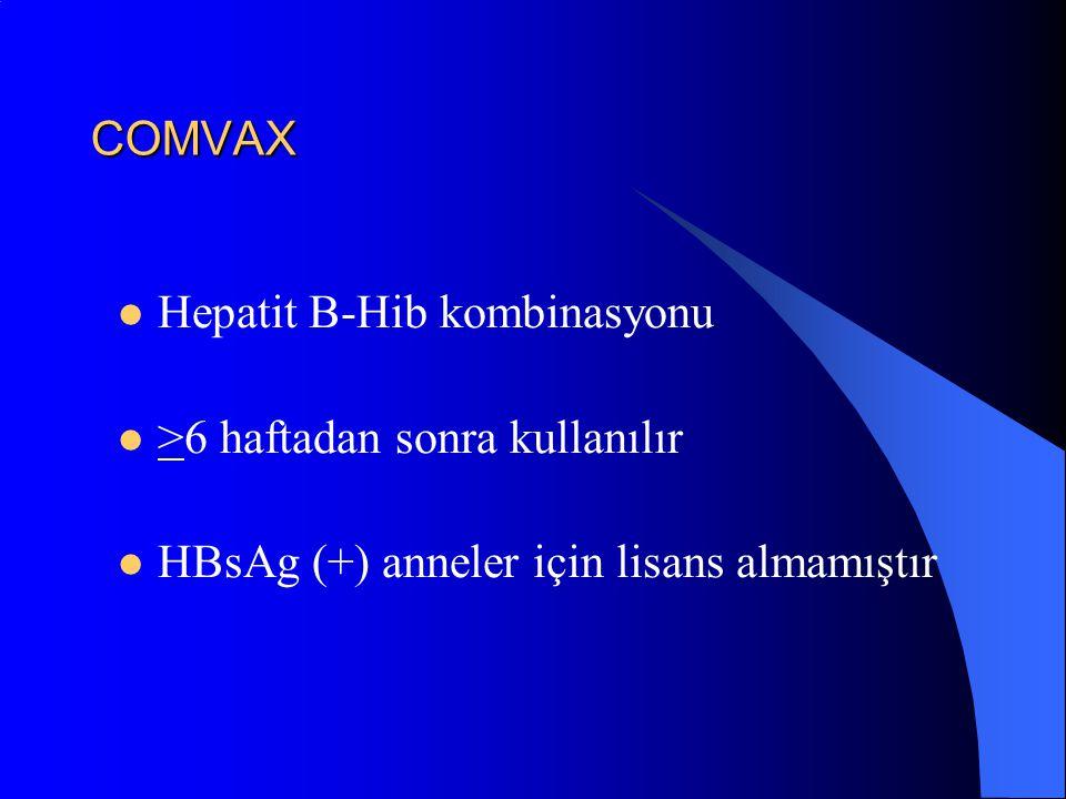 COMVAX Hepatit B-Hib kombinasyonu. >6 haftadan sonra kullanılır.