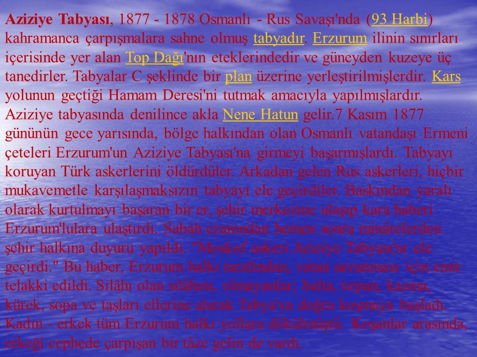 Aziziye Tabyası, 1877 - 1878 Osmanlı - Rus Savaşı nda (93 Harbi) kahramanca çarpışmalara sahne olmuş tabyadır.