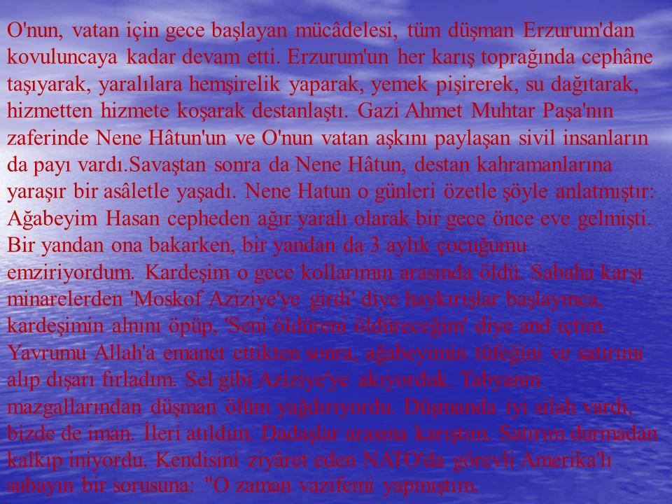 O nun, vatan için gece başlayan mücâdelesi, tüm düşman Erzurum dan kovuluncaya kadar devam etti.