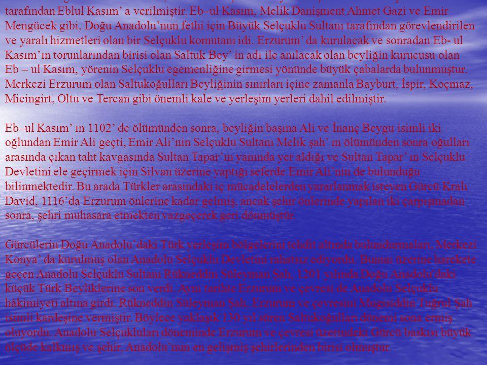 1071 Malazgirt zaferinden sonra, Erzurum ve çevresi büyük Selçuklu Sultanı Alparslan tarafından Eblul Kasım' a verilmiştir. Eb–ul Kasım, Melik Danişment Ahmet Gazi ve Emir Mengücek gibi, Doğu Anadolu'nun fethi için Büyük Selçuklu Sultanı tarafından görevlendirilen ve yaralı hizmetleri olan bir Selçuklu komutanı idi. Erzurum' da kurulacak ve sonradan Eb- ul Kasım'ın torunlarından birisi olan Saltuk Bey' in adı ile anılacak olan beyliğin kurucusu olan