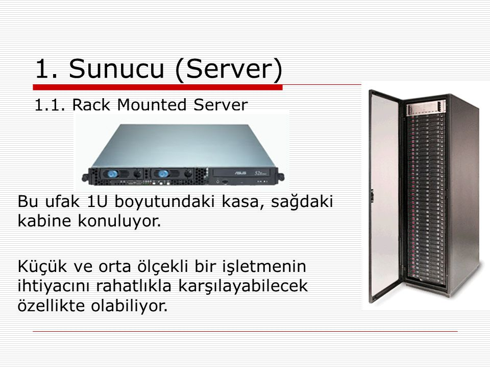 1. Sunucu (Server) 1.1. Rack Mounted Server