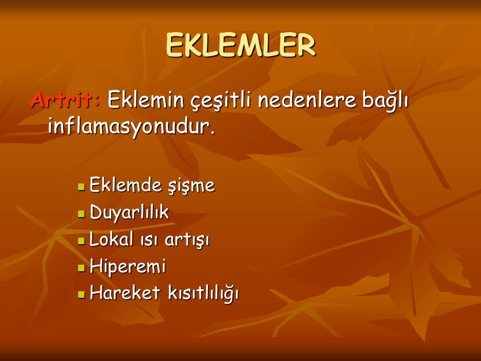 EKLEMLER Artrit: Eklemin çeşitli nedenlere bağlı inflamasyonudur.