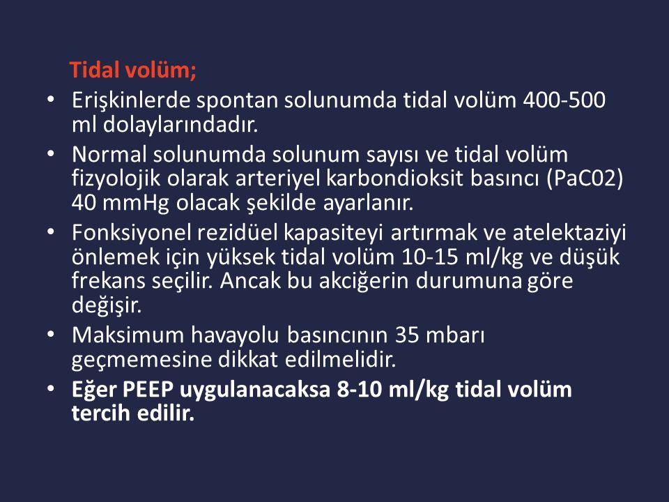 Tidal volüm; Erişkinlerde spontan solunumda tidal volüm 400-500 ml dolaylarındadır.