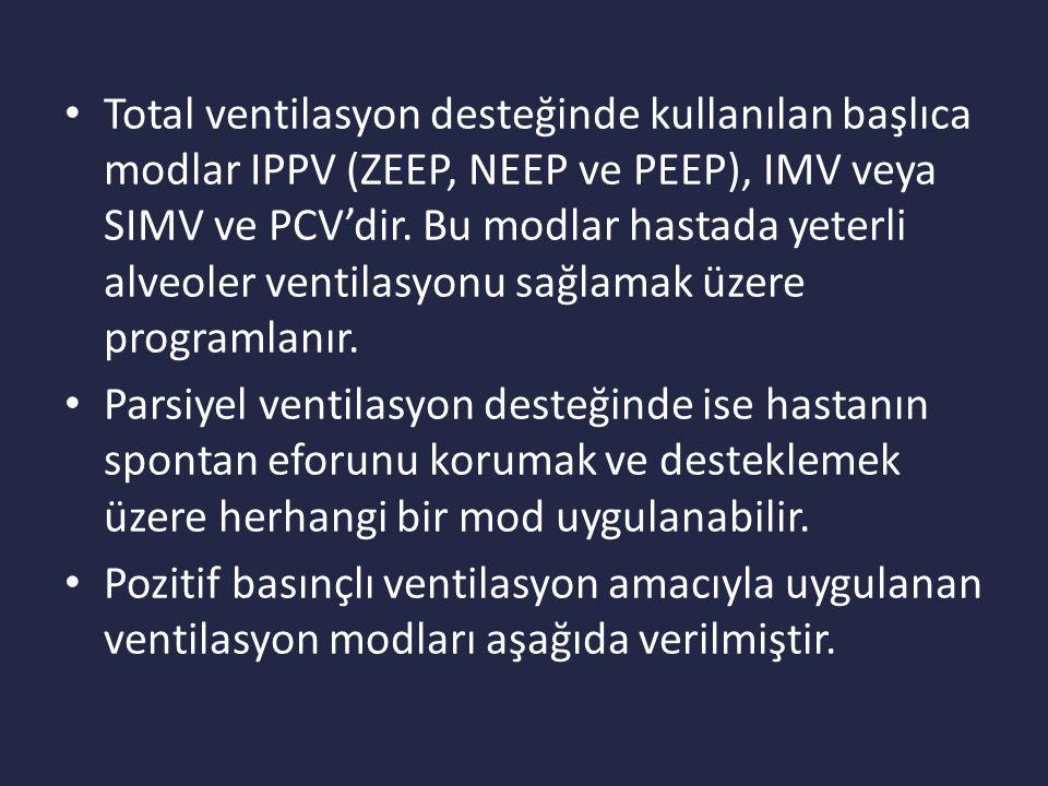 Total ventilasyon desteğinde kullanılan başlıca modlar IPPV (ZEEP, NEEP ve PEEP), IMV veya SIMV ve PCV'dir. Bu modlar hastada yeterli alveoler ventilasyonu sağlamak üzere programlanır.