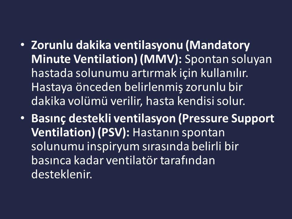 Zorunlu dakika ventilasyonu (Mandatory Minute Ventilation) (MMV): Spontan soluyan hastada solunumu artırmak için kullanılır. Hastaya önceden belirlenmiş zorunlu bir dakika volümü verilir, hasta kendisi solur.