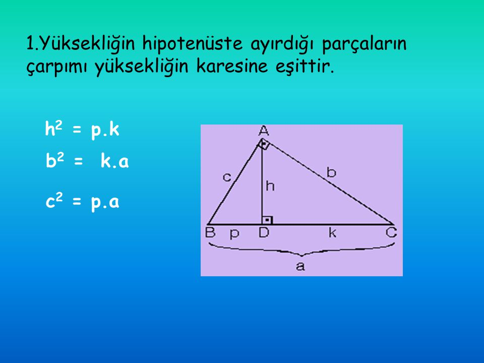 1.Yüksekliğin hipotenüste ayırdığı parçaların çarpımı yüksekliğin karesine eşittir.