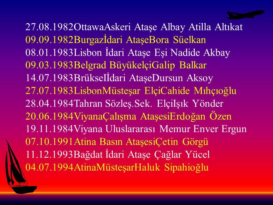 27.08.1982OttawaAskeri Ataşe Albay Atilla Altıkat