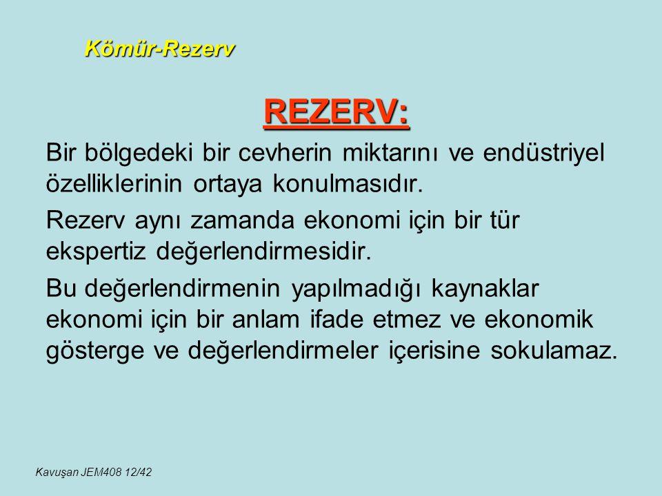 Kömür-Rezerv REZERV: Bir bölgedeki bir cevherin miktarını ve endüstriyel özelliklerinin ortaya konulmasıdır.