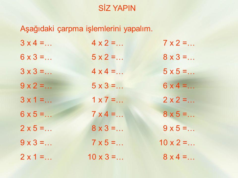 SİZ YAPIN Aşağıdaki çarpma işlemlerini yapalım. 3 x 4 =… 4 x 2 =… 7 x 2 =… 6 x 3 =… 5 x 2 =… 8 x 3 =…