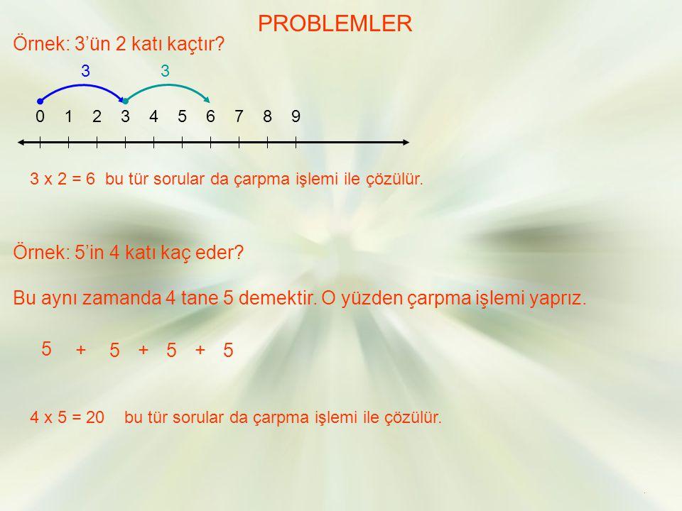 PROBLEMLER Örnek: 3'ün 2 katı kaçtır Örnek: 5'in 4 katı kaç eder