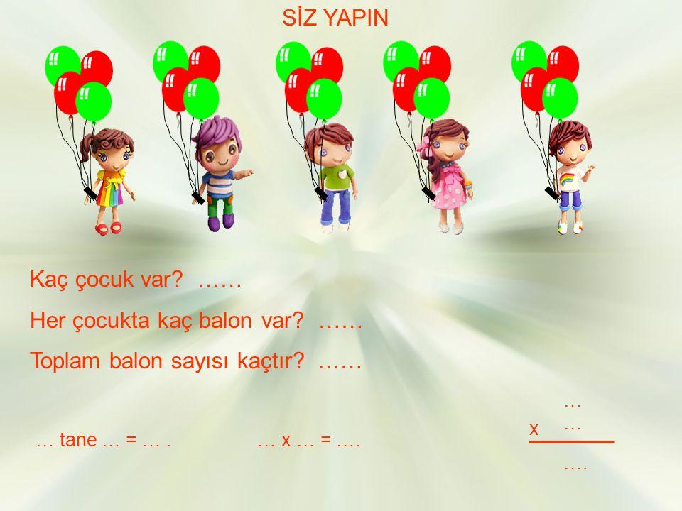 Her çocukta kaç balon var …… Toplam balon sayısı kaçtır ……