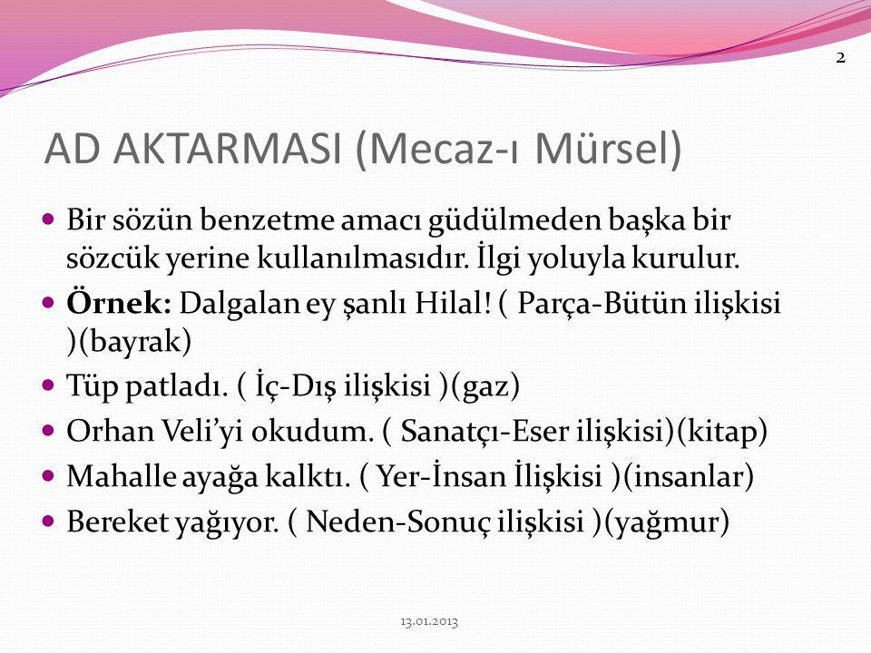 AD AKTARMASI (Mecaz-ı Mürsel)