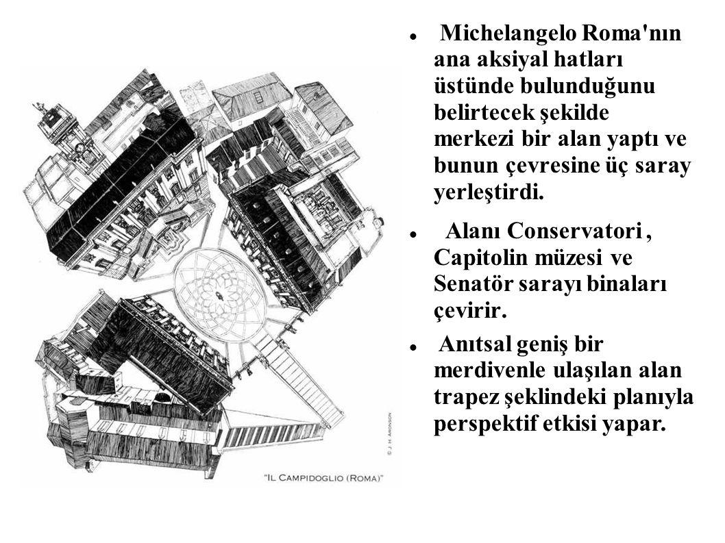 Michelangelo Roma nın ana aksiyal hatları üstünde bulunduğunu belirtecek şekilde merkezi bir alan yaptı ve bunun çevresine üç saray yerleştirdi.