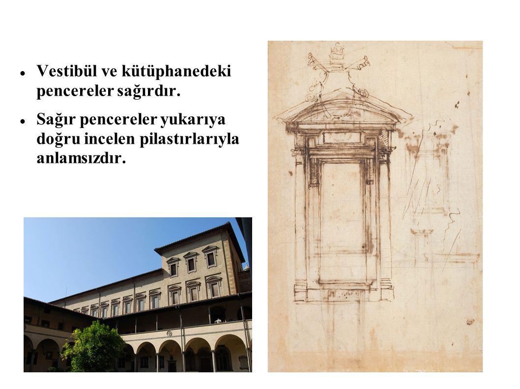 Vestibül ve kütüphanedeki pencereler sağırdır.