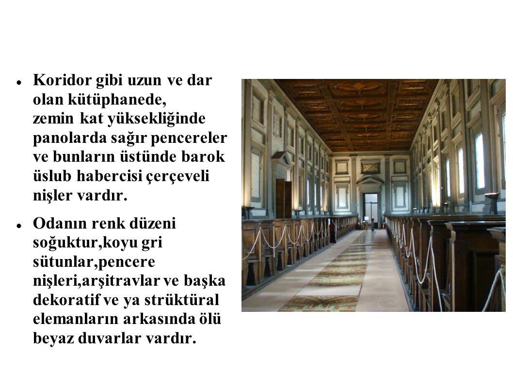 Koridor gibi uzun ve dar olan kütüphanede, zemin kat yüksekliğinde panolarda sağır pencereler ve bunların üstünde barok üslub habercisi çerçeveli nişler vardır.