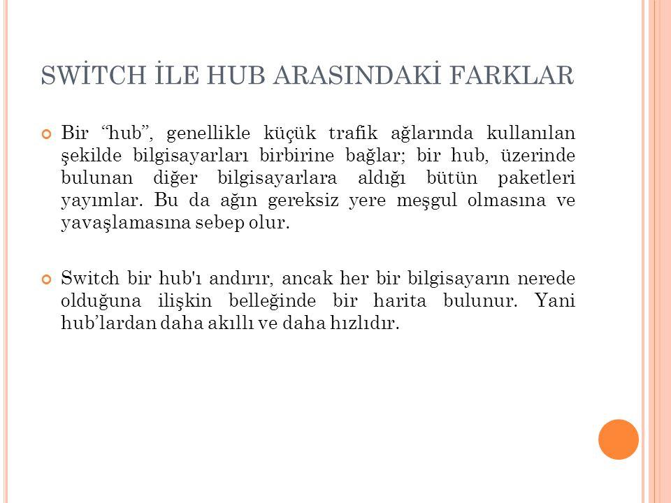 SWİTCH İLE HUB ARASINDAKİ FARKLAR