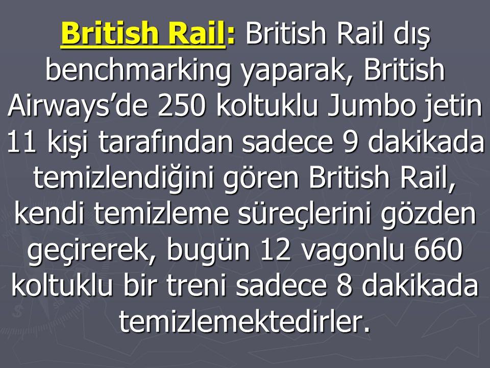 British Rail: British Rail dış benchmarking yaparak, British Airways'de 250 koltuklu Jumbo jetin 11 kişi tarafından sadece 9 dakikada temizlendiğini gören British Rail, kendi temizleme süreçlerini gözden geçirerek, bugün 12 vagonlu 660 koltuklu bir treni sadece 8 dakikada temizlemektedirler.