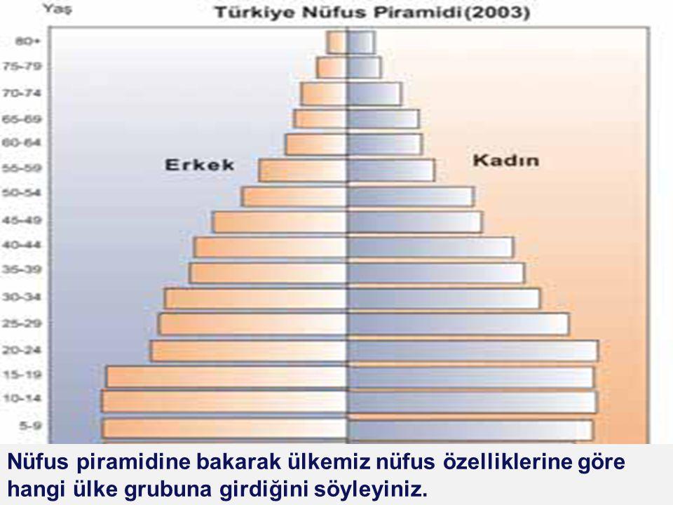 Nüfus piramidine bakarak ülkemiz nüfus özelliklerine göre hangi ülke grubuna girdiğini söyleyiniz.