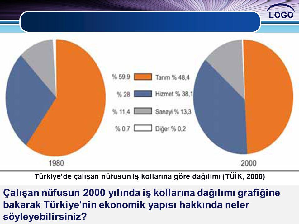 Türkiye'de çalışan nüfusun iş kollarına göre dağılımı (TÜİK, 2000)