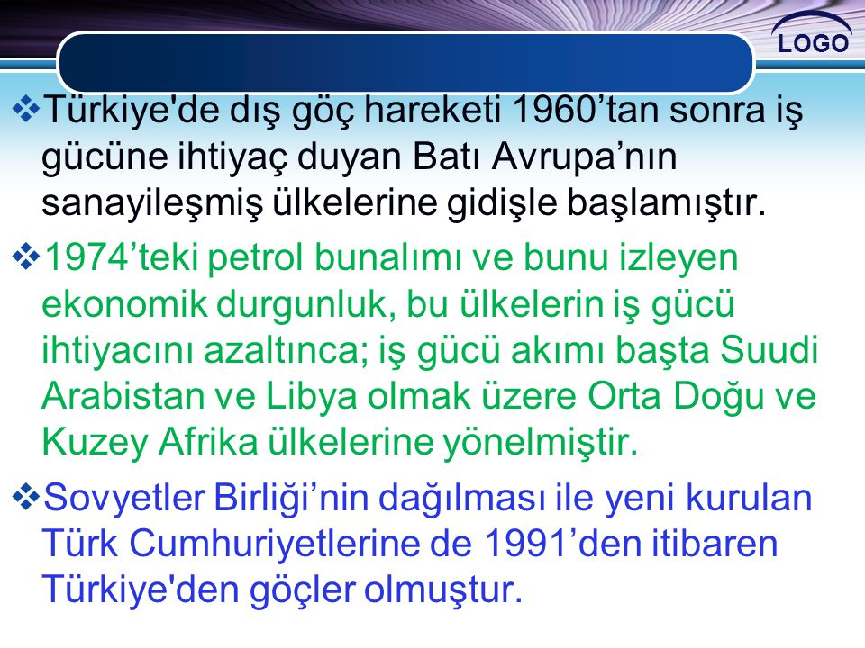 Türkiye de dış göç hareketi 1960'tan sonra iş gücüne ihtiyaç duyan Batı Avrupa'nın sanayileşmiş ülkelerine gidişle başlamıştır.