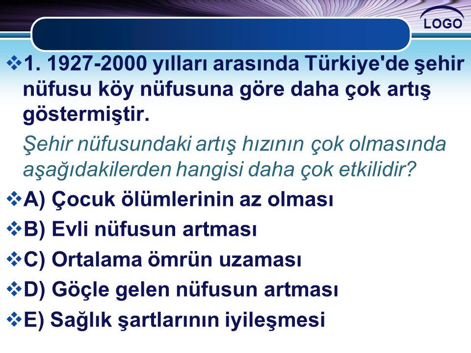 1. 1927-2000 yılları arasında Türkiye de şehir nüfusu köy nüfusuna göre daha çok artış göstermiştir.