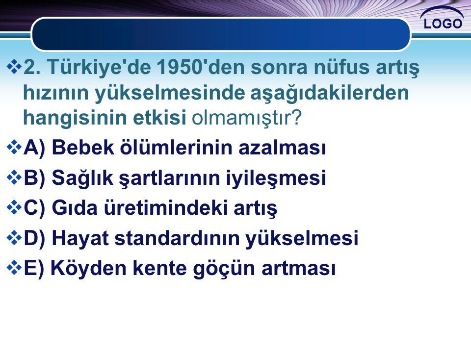 2. Türkiye de 1950 den sonra nüfus artış hızının yükselmesinde aşağıdakilerden hangisinin etkisi olmamıştır