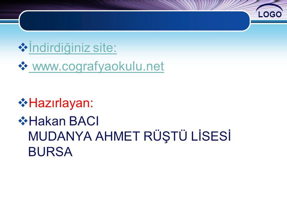 İndirdiğiniz site: www.cografyaokulu.net Hazırlayan: Hakan BACI MUDANYA AHMET RÜŞTÜ LİSESİ BURSA