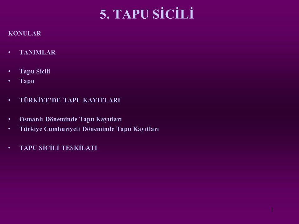 5. TAPU SİCİLİ KONULAR TANIMLAR Tapu Sicili Tapu