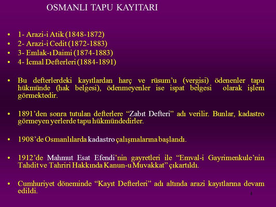 OSMANLI TAPU KAYITARI 1- Arazi-i Atik (1848-1872)