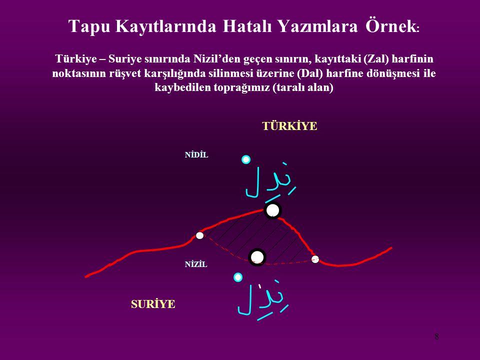 Tapu Kayıtlarında Hatalı Yazımlara Örnek: Türkiye – Suriye sınırında Nizil'den geçen sınırın, kayıttaki (Zal) harfinin noktasının rüşvet karşılığında silinmesi üzerine (Dal) harfine dönüşmesi ile kaybedilen toprağımız (taralı alan)